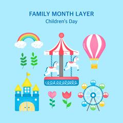 Happy Family Day vector illustration set.