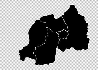 rwanda map - High detailed Black map with counties/regions/states of rwanda. rwanda map isolated on transparent background.
