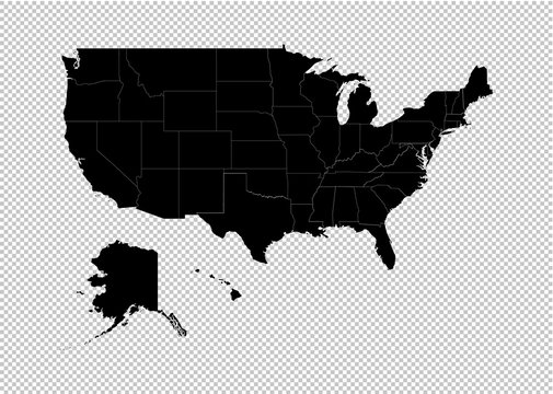 America map - High detailed Black map with counties/regions/states of USA. uinted state of america map isolated on transparent background.