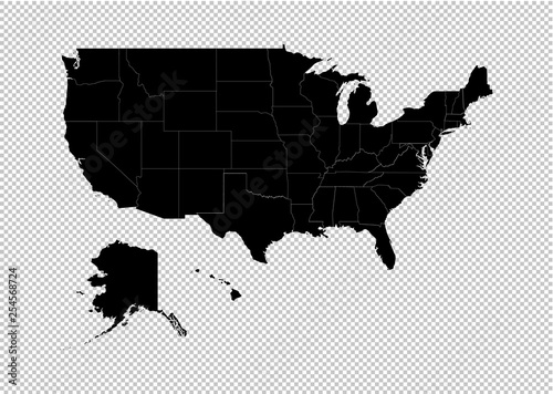 America map - High detailed Black map with counties/regions ...