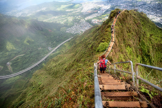Hikers on the Haiku stairs, otherwise known as Stairway to Heaven, on Oahu, Hawaii.