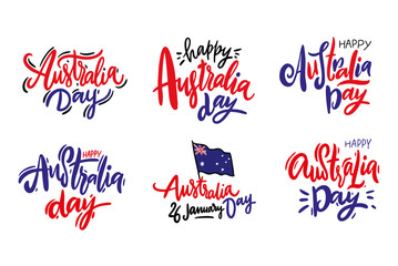 Happy Australia day hand drawn vector lettering set. Isolated on white background.