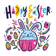 Happy Easter hand drawn colorful lettering. Holiday vector illustration isolated on white background.