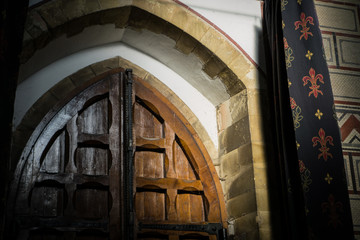 interior of a medieval sanctuary in southern england