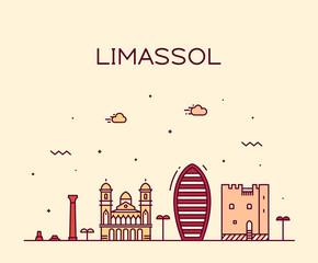 Fototapete - Limassol skyline Cyprus vector city linear style