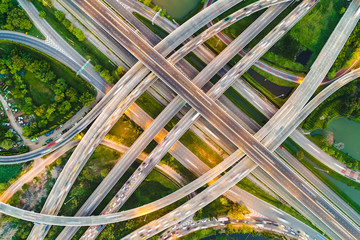 Transport city junction road aerial view