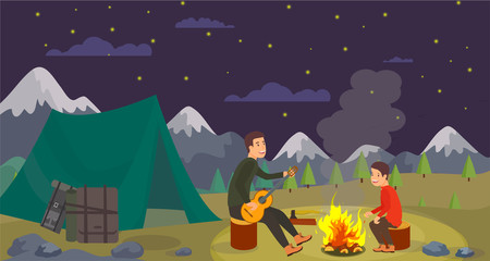 Vector Flat Night Camping in Forest on Background.
