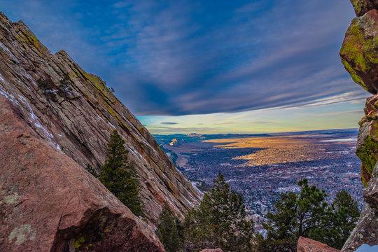 Beautiful Winter Sunset Hike on Flatirons in Boulder, Colorado