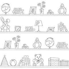 Shelves graphic black white children room toy book seamless pattern background sketch illustration vector