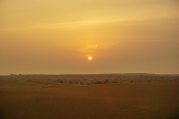 Sunrise over the sand dunes of the desert in Rajasthan, India