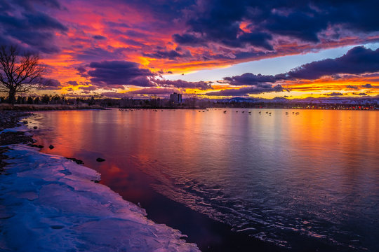 Colorful and Beautiful Sunset Over Sloan's Lake in Denver, Colorado