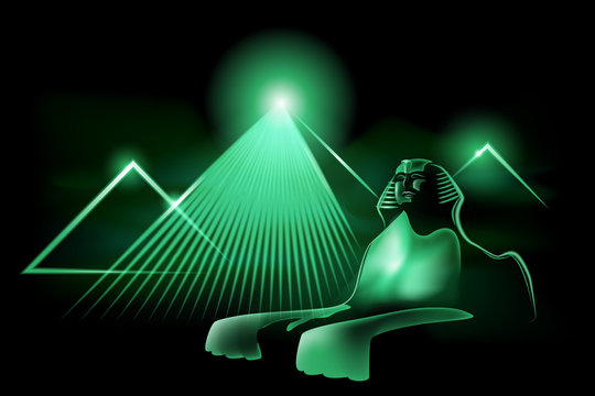 Neon Sphinx The image of the Egyptian Sphinx and the pyramids in neon light. Illustration, vector. EPS-10.