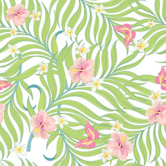 Tropical vector seamless background with palm leaves and flowers.Trendy textile print .