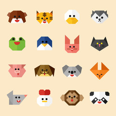 Animal faces set of origami concept. flat design style minimal vector illustration