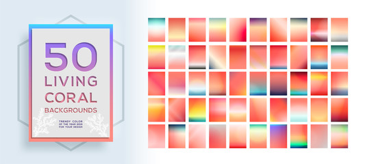Big collection of trendy colorful vibrant backgrounds with color of the year 2019, living coral. Vector illustration
