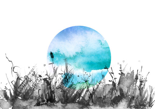 Watercolor background, pattern, illustration. black grass, wild plants,full moon. The pattern is blue with a place for your design. Countryside landscape, field, meadow. Night landscape.