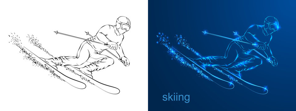 Linear silhouette of the drawing the athlete on skis.