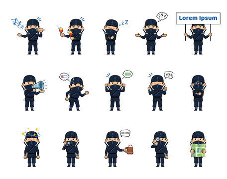 Set of chibi ninja characters showing diverse actions, emotions. Kawaii ninja holding map, loudspeaker, placard, taking photo, tired, sleeping and doing other actions. Simple vector illustration