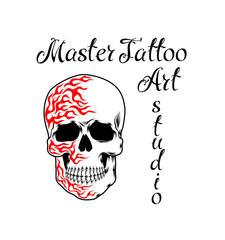 Cool retro style emblem. Tattoo studio sign.