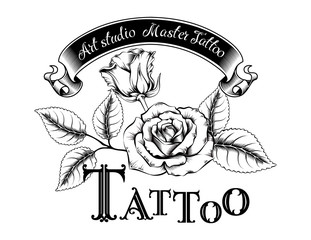 Hand drawn vector illustration of tattoo logo with roses