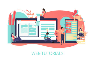 Web tutorials. Color illustration with laptop, smartphone and people study, flat style.