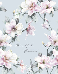 Elegant watercolor  Magnolia