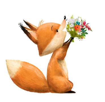 cute fox with floral bouqet
