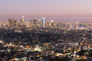 Beautiful Light Los Angeles California Downtown City Skyline Urban Metropolis