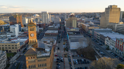 Aerial View Over Downtown Tacoma Washington Broadway Market Streets