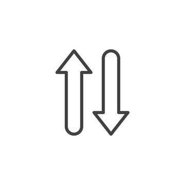 Up and down arrows line icon. linear style sign for mobile concept and web design. Arrows Exchange Vertical outline vector icon. Symbol, logo illustration. Pixel perfect vector graphics