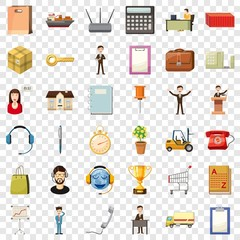Finance business icons set. Cartoon style of 36 finance business vector icons for web for any design