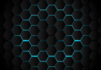 Abstract black hexagon pattern on light blue background technology style. Honeycomb.