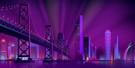 Cartoon vector urban background with modern metropolis district, illuminated skyscrapers buildings, bridge over river or bay, projector lights beams in sky. Neon colors future city cyberpunk landscape