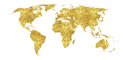 Wall Mural - Golden world map concept illustration, gold planet geography icon made of golden glitter dust on white background.