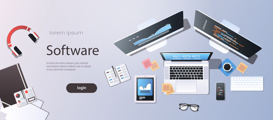 design software development programming concept top angle view desktop computer monitor tablet smartphone laptop screen office stuff horizontal copy space