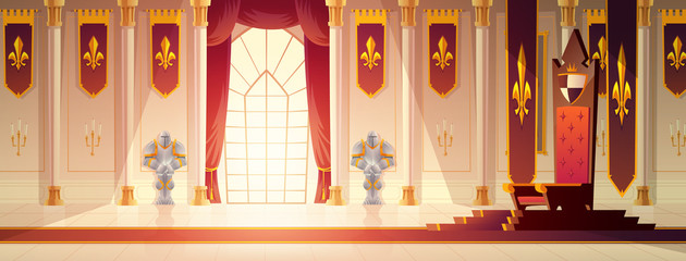 Medieval castle spacious throne hall or ballroom interior cartoon vector. Red carpet path to kings throne on pedestal, curtains on window, flags with royal emblem on walls, knights armors illustration Wall mural