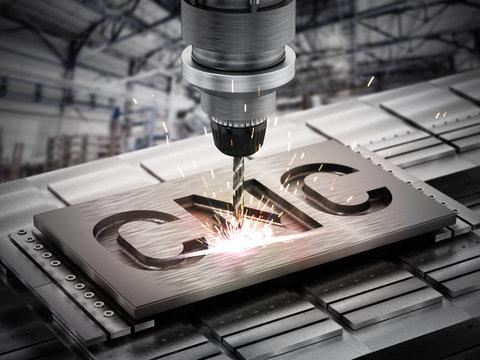 Closeup of generic CNC drill equipment. 3D illustration