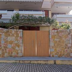 elegant contemporary house entrance wooden door, Athens Greece