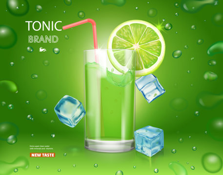 Lime juice poster with ice cubes. Mojito cocktail advertising design. Citrus tonic drink on green glitter background