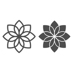 Lotus line and glyph icon. Flower vector illustration isolated on white. Floral outline style design, designed for web and app. Eps 10.