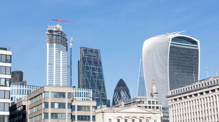 London, United Kingdom - Februari 21, 2019: London skyline buildings in Canary Warf, view from the Thames