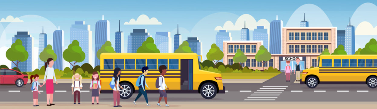 group of mix race children walking in yellow bus in front of school building exterior back to school pupils transport concept cityscape background flat horizontal banner
