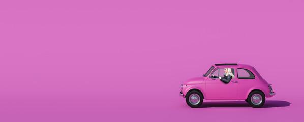 Rosa Auto mit Frau am Steuer mit rosa Hintergrund Wall mural
