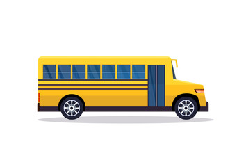 yellow retro bus back to school pupils transport concept white background flat horizontal banner