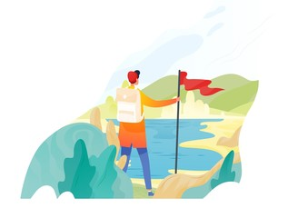Obraz Backpacker, hiker, traveller or explorer standing, holding red flag and looking at nature. Hiking, backpacking, adventure tourism and travel, discovery of new horizons. Flat vector illustration. - fototapety do salonu