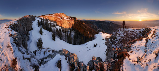 Slovakia mountain at winter, peak Tlsta at sunset, Fatra