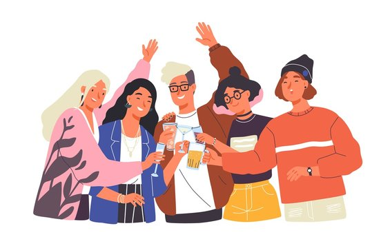 Group of happy boys and girls clinking glasses and drinking alcohol at celebratory party. Portrait of cute joyful friends celebrating together. Colorful vector illustration in flat cartoon style.