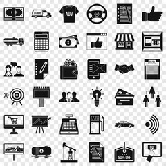 Business contract icons set. Simple style of 36 business contract vector icons for web for any design