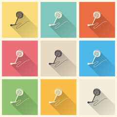 Audio microphone icon illustration, music pattern