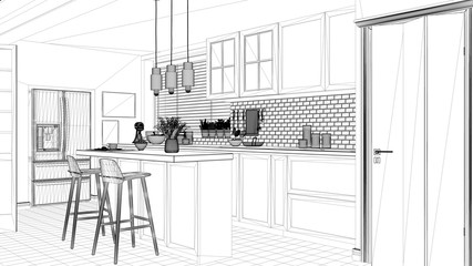Interior design project, black and white ink sketch, architecture blueprint showing scandinavian minimalistic kitchen with island and stools, contemporary architecture
